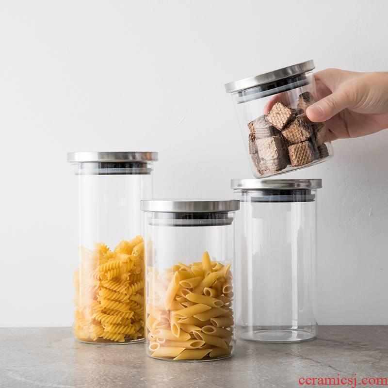 TaoDian glass storage household pot of grain with cover pot transparent receive tea pot seal pot