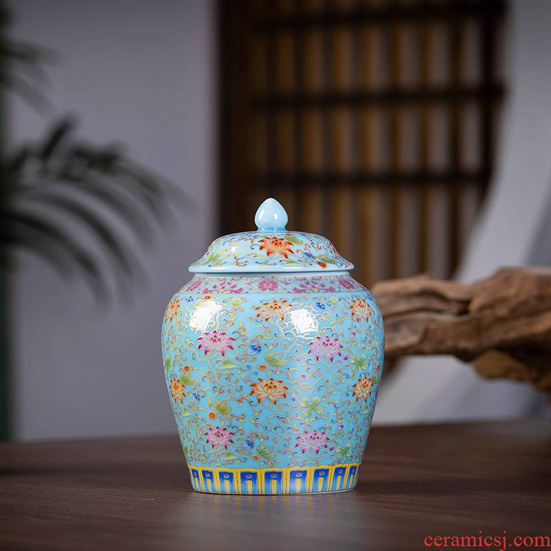 Jingdezhen ceramics caddy fixings colored enamel pu seal pot of tea warehouse Chinese style home furnishing articles household storage tank