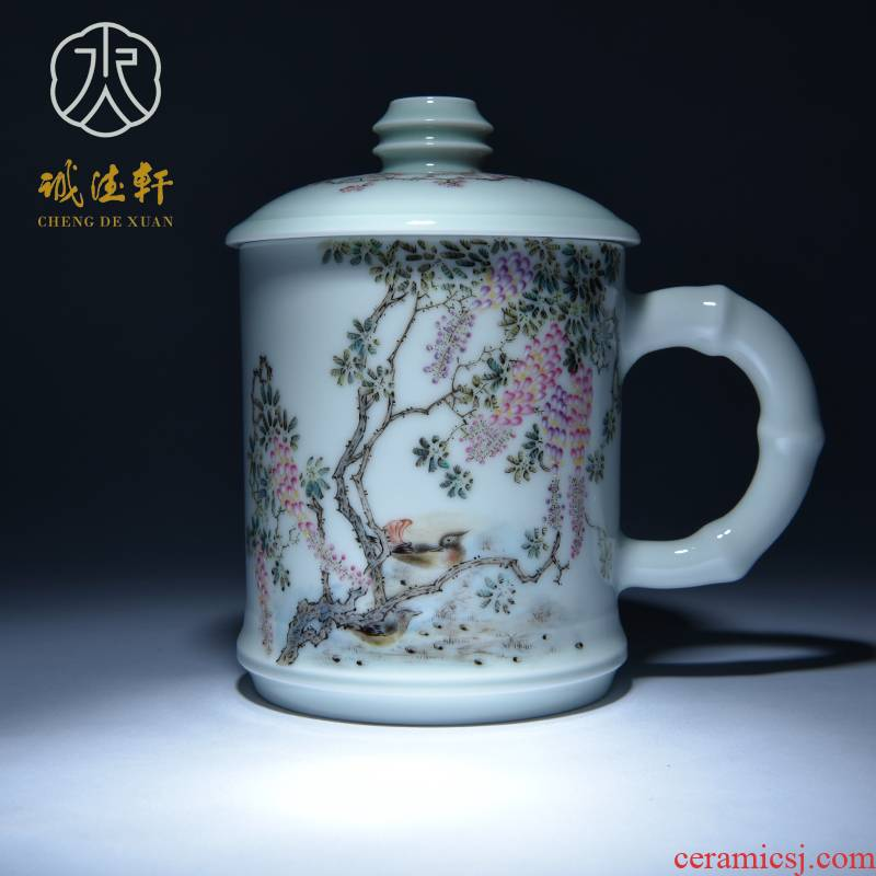 Cheng DE hin jingdezhen ceramic tea set, high - grade pure hand draw pastel 12 cups wisteria mandarin duck