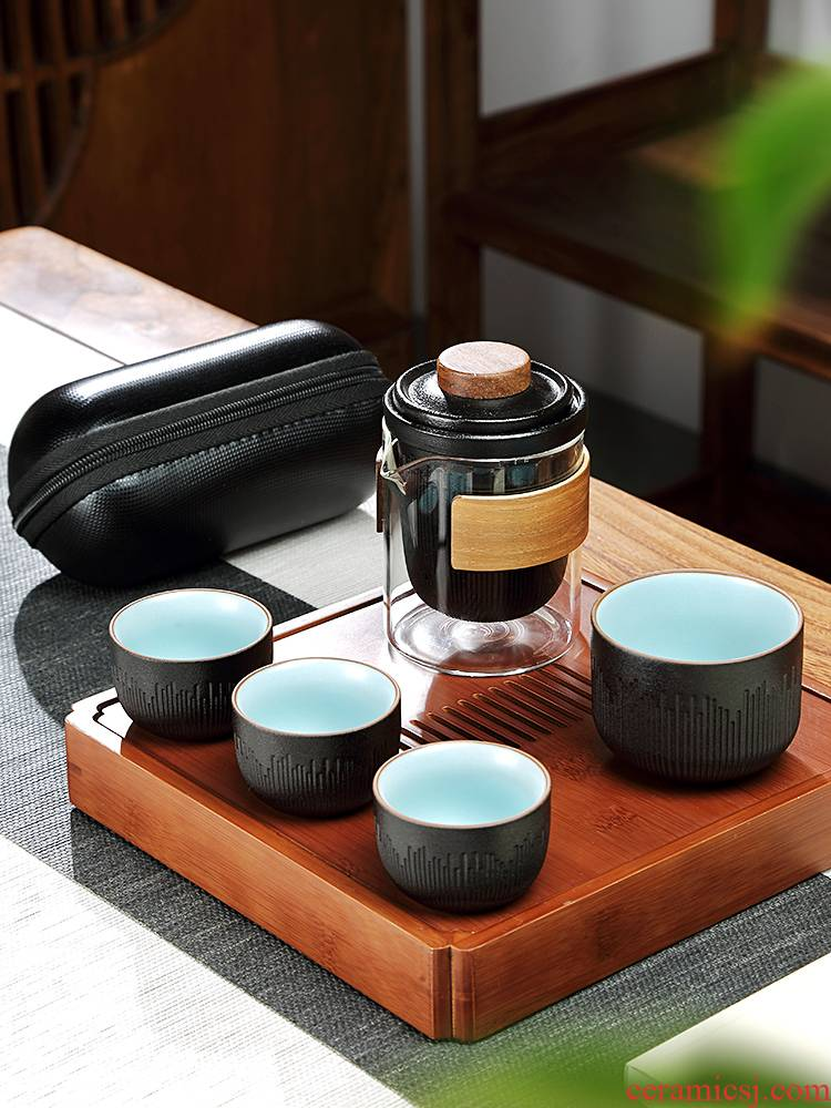 Travel tea set four cups a pot of small portable bag type set of Japanese ceramic crack cup is suing the custom Logo