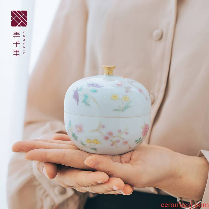 Made in jingdezhen ceramic portable hand - Made tea caddy fixings of pure manual YanYue color seal storage POTS and POTS