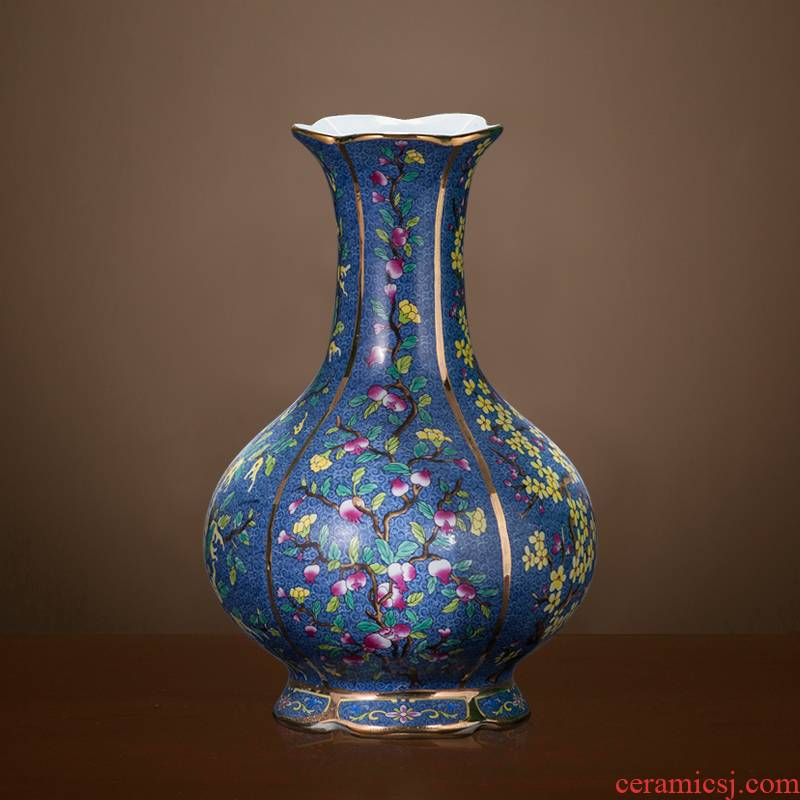 Jingdezhen ceramics imitation the qing qianlong pastel vases, flower arranging antique Chinese rich ancient frame sitting room adornment is placed