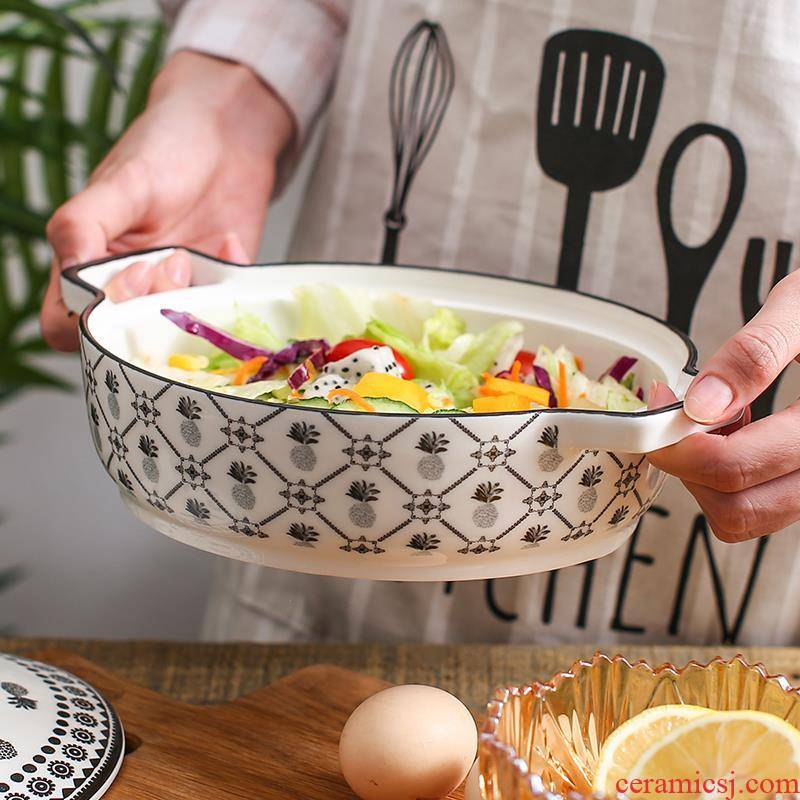 Cheese paella pan household ceramics ears microwave baking bake bowl Nordic western creative soup dish plate