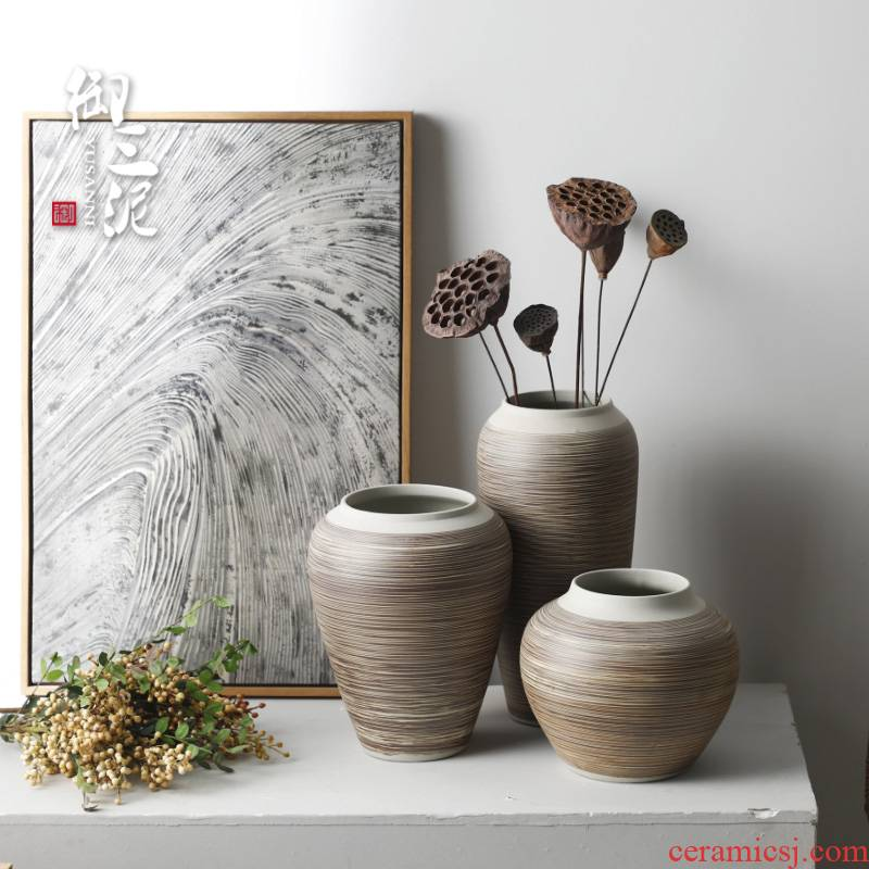 Contracted and I ceramic countertops dry vase decoration restoring ancient ways furnishing articles sitting room put flowerpot grain boundary line thick some ceramic pot