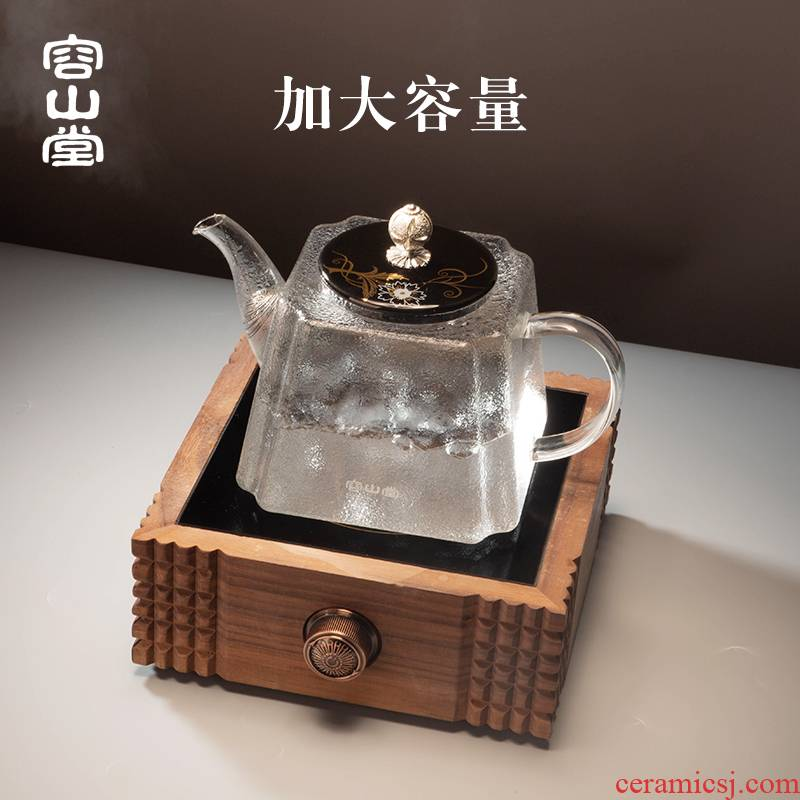 RongShan glass kettle ceramic coppering. As silver pot button # heat happens electrical TaoLu tea stove capacity boiled tea tea set