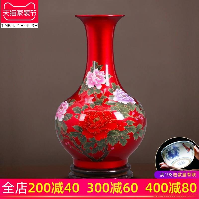 Jingdezhen ceramics glaze crystal vase furnishing articles sitting room flower arranging the modern Chinese style household adornment wedding gift