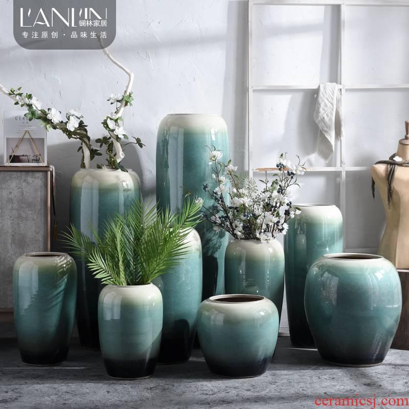 The modern living room flower arranging dried flowers of jingdezhen ceramic vase landed large villa hotel TV ark, furnishing articles