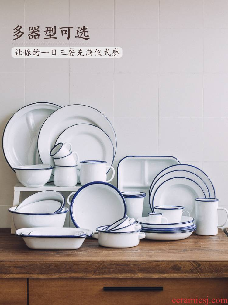 The Tree can be the Nordic blue enamel tableware western breakfast steak dishes dishes home baking bowl of the afternoon tea dishes