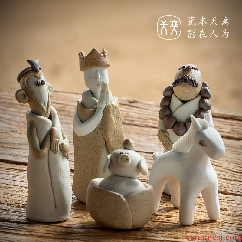 """Journey to the west"" of the four ceramic small place of a complete set of express the characters play creative hand - made tea to tea pet"