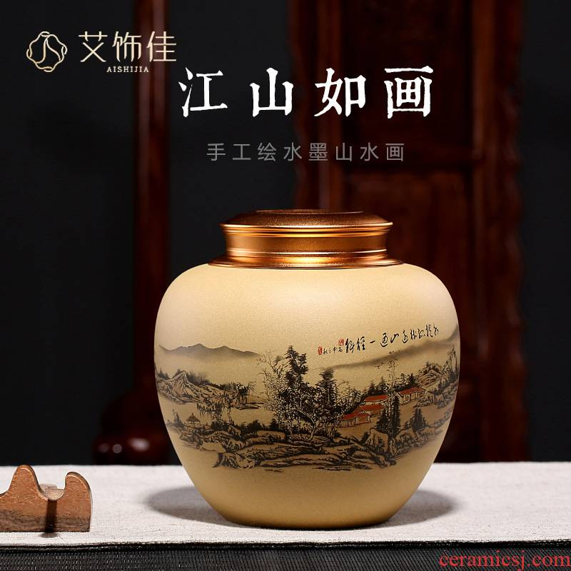 Yixing purple sand tea pot undressed ore section of jiangshan picturesque manual ink pu - erh tea pot gift custom lettering
