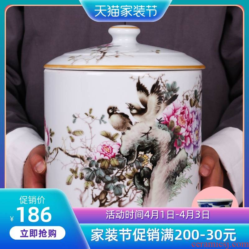 Jingdezhen ceramic hand - made blooming flowers caddy fixings large household seal storage tank tea urn porcelain jar