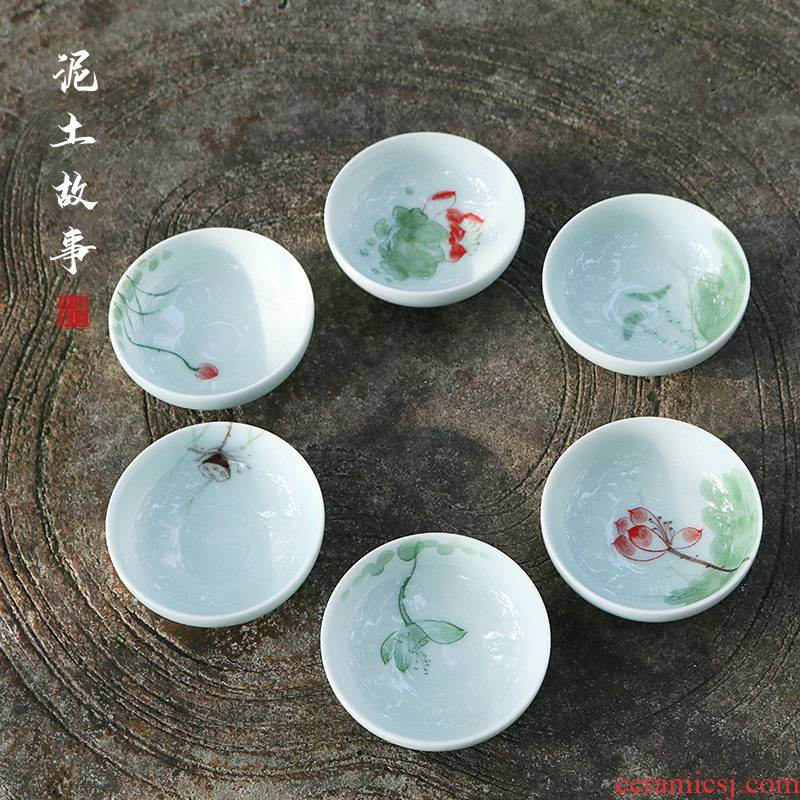 Earth story white porcelain hand - made ceramic cups zen lotus master sample tea cup cup personal single CPU kung fu tea bowls