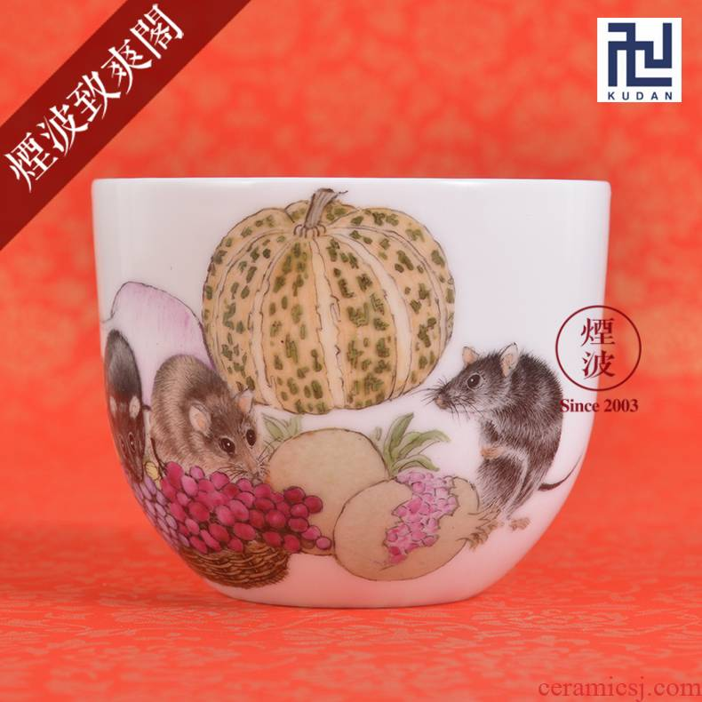 Jingdezhen nine calcinations experienced painters hand - made pastel rat year an abundant pumpkin pomegranate to recognize cups sample tea cup