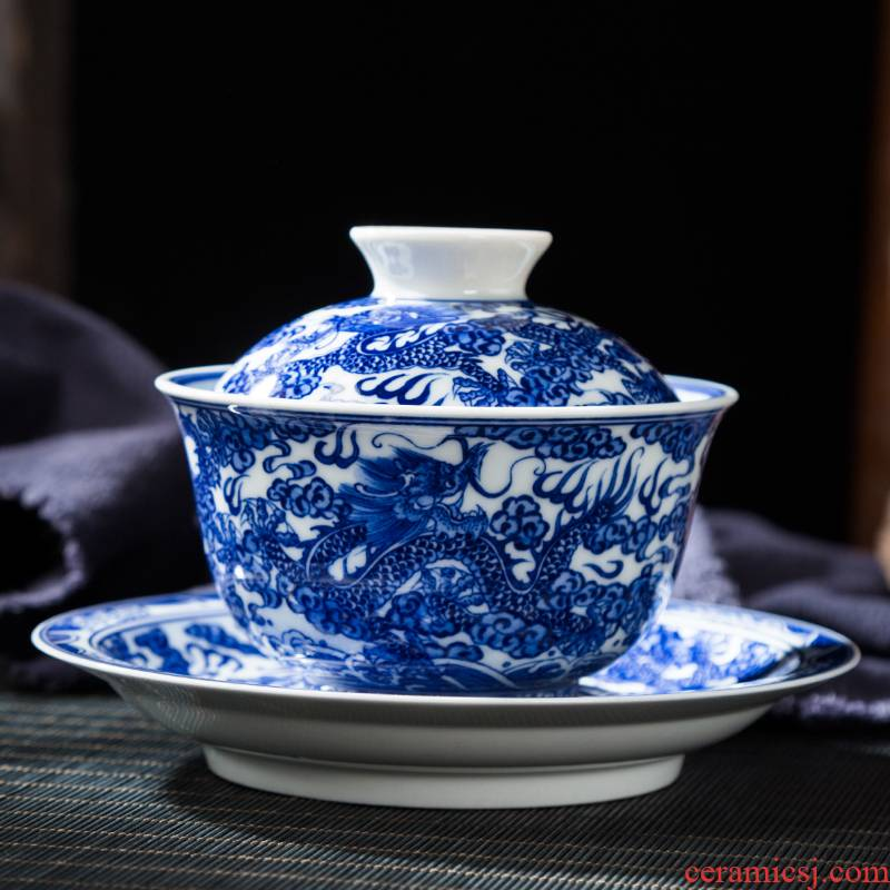 Jingdezhen ceramic only three bowl of court wind pure hand - made manual Kowloon, blue and white lines tureen and tea cups