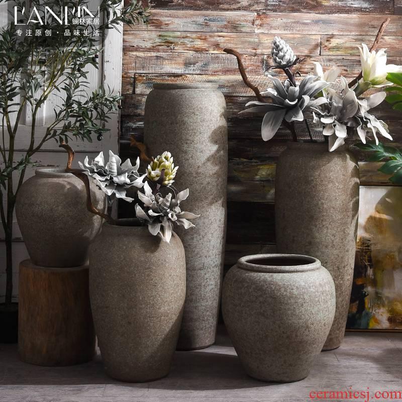 Restoring ancient ways do old ceramic vase landed furnishing articles thick large flower pot sitting room garden decoration flower pot cylinder