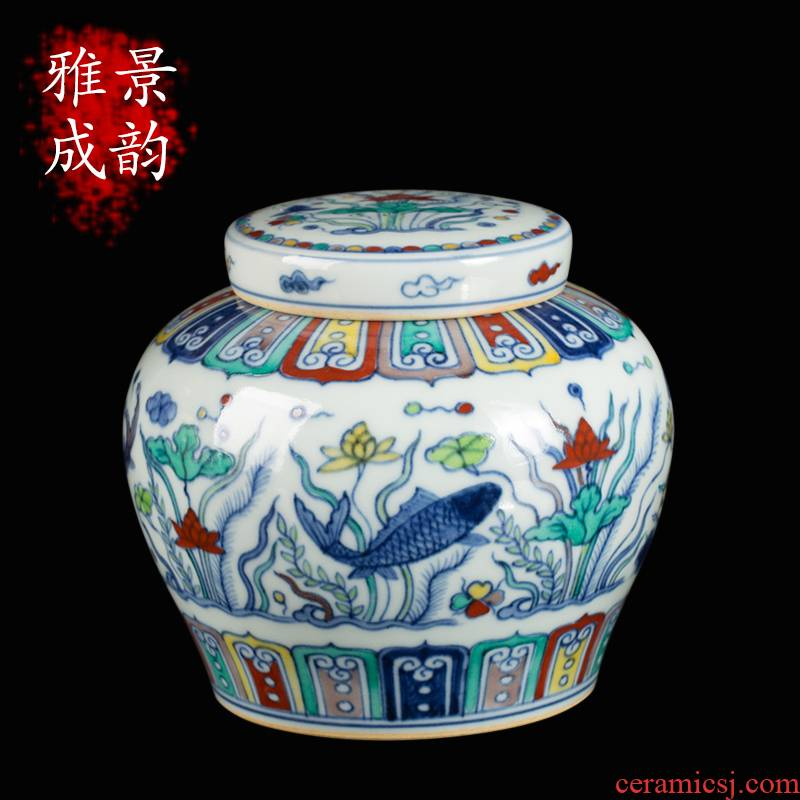 Jingdezhen ceramic dou see colour every year more than maintain day word tea pot storage as cans accessories teahouse furnishing articles