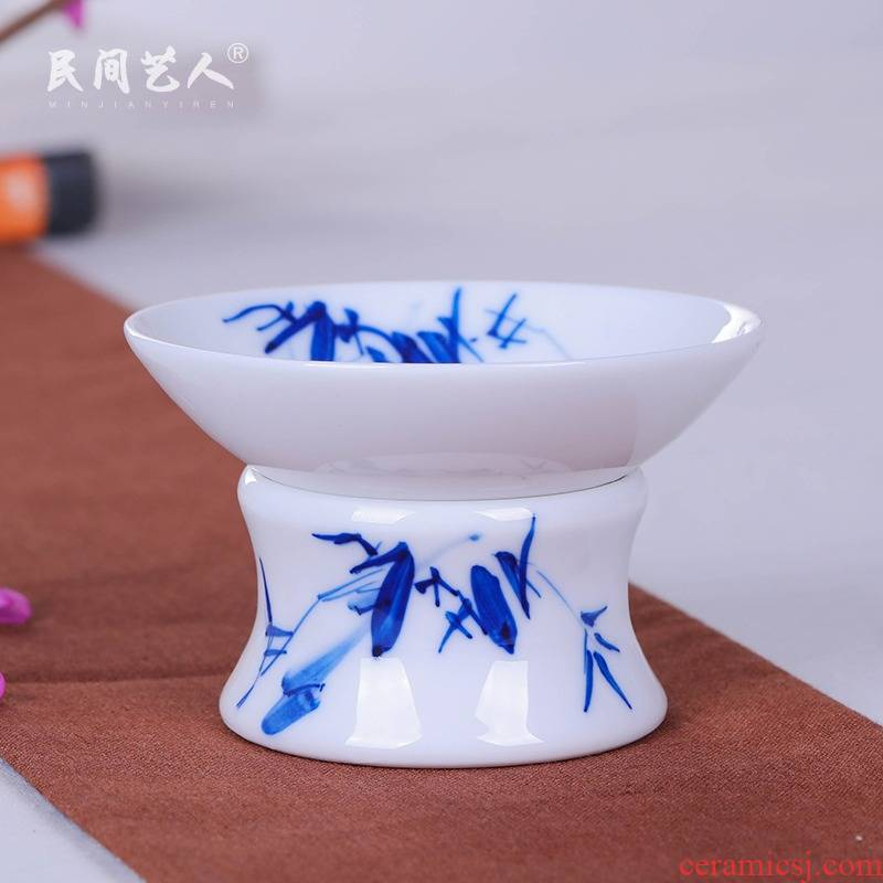 Jingdezhen hand - made ceramic filter) tea tea lies between blue and white porcelain kung fu tea tea accessories filter