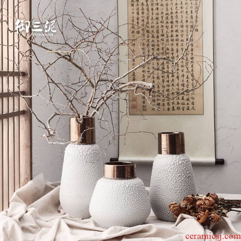 Dried flower adornment furnishing articles coarse light some ceramic pot flower arranging flower implement restoring ancient ways is the key-2 luxury of I and contracted white mercifully black copper ceramic vase