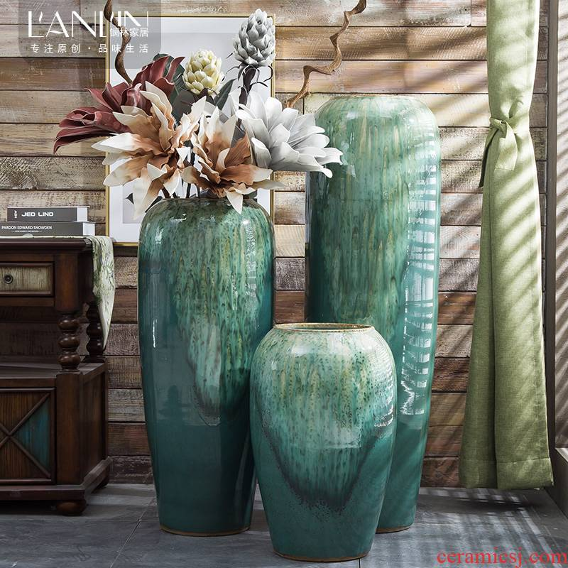 Jingdezhen porcelain ceramic vase contracted and I European hotel hall, large flower arranging landing furnishing articles for the opening taking