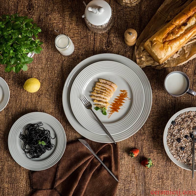 Lototo European ceramic tableware creative western - style food dish ikea home small pure and fresh and beautiful plate pasta dish
