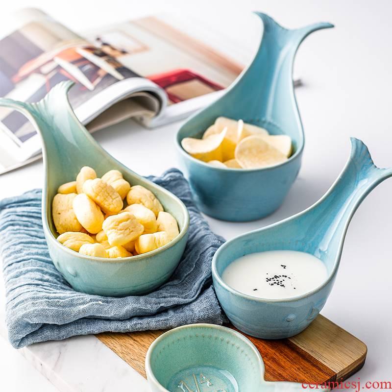 Nordic tableware INS small bowl of fresh fish snacks dessert seasoning sauce dish bowl of ceramic cup blue whales