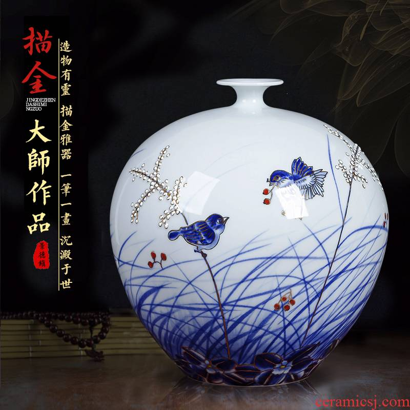 Jingdezhen ceramics hand - made the see colour blue and white porcelain vase pomegranate bottle of new Chinese style living room porch rich ancient frame furnishing articles