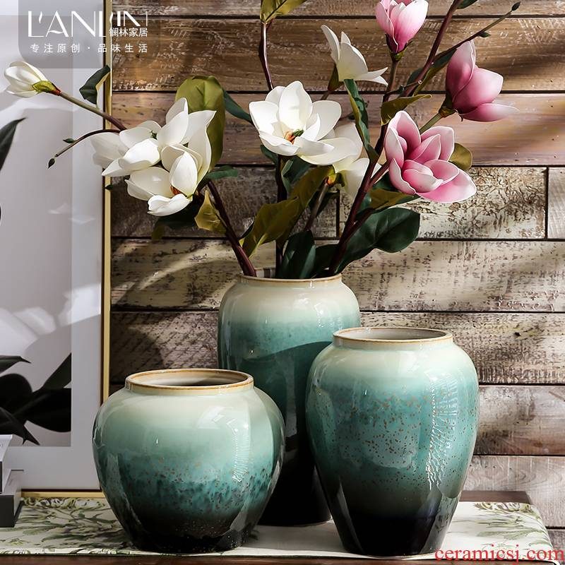 Modern Chinese American Mediterranean style ceramic vase household simulation flower suit desktop furnishing articles sitting room adornment