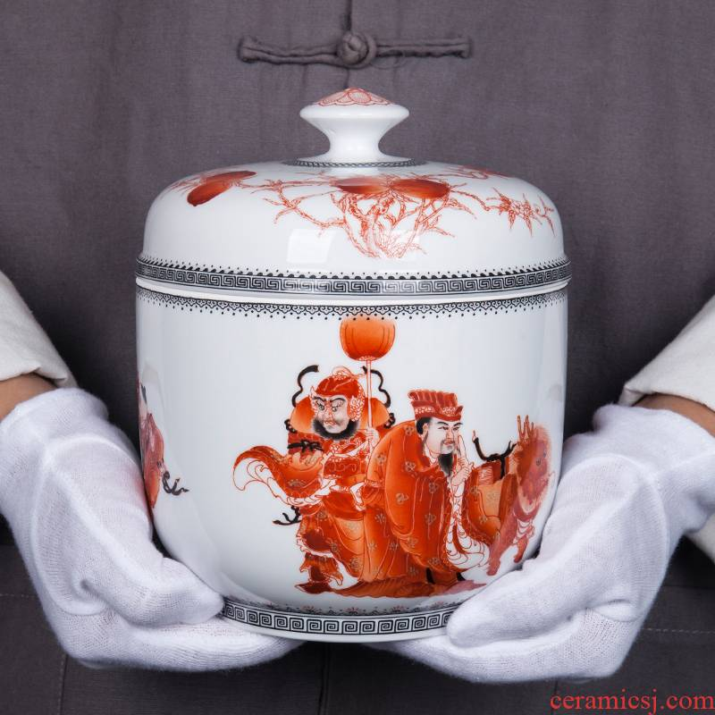 Jingdezhen ceramic new Chinese filial piety touched by day sitting room storage tank general teahouse tea caddy fixings furnishing articles