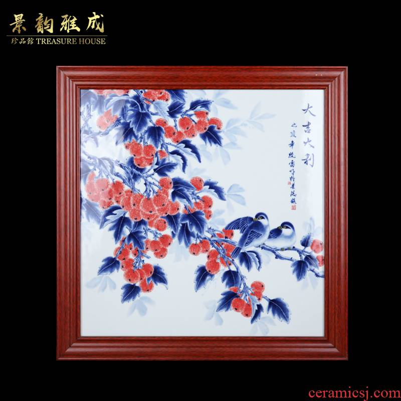 Jingdezhen ceramic prosperous adornment picture of new Chinese style household living room setting wall is blue and white porcelain porcelain plate painting