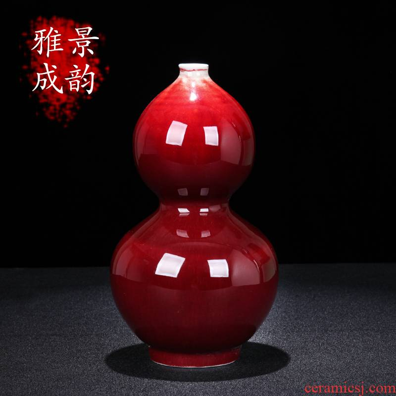 Jingdezhen ceramic new Chinese style ruby red glaze vase decoration place to live in the living room TV cabinet beside the flower porcelain