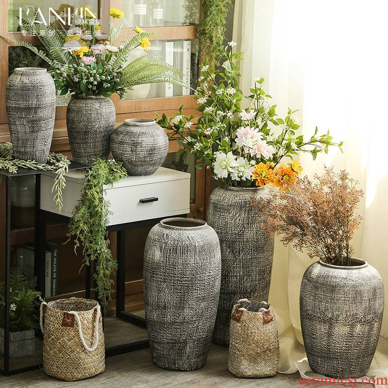 Sitting room ground ceramic vase furnishing articles to restore ancient ways American plug-in the dried flower implement jingdezhen coarse pottery flowerpot decorations