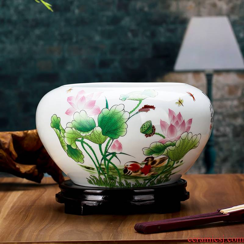 Jingdezhen chinaware lotus little gold fish tank water lily bowl lotus cylinder cylinder tortoise writing brush washer place flowerpot yg61