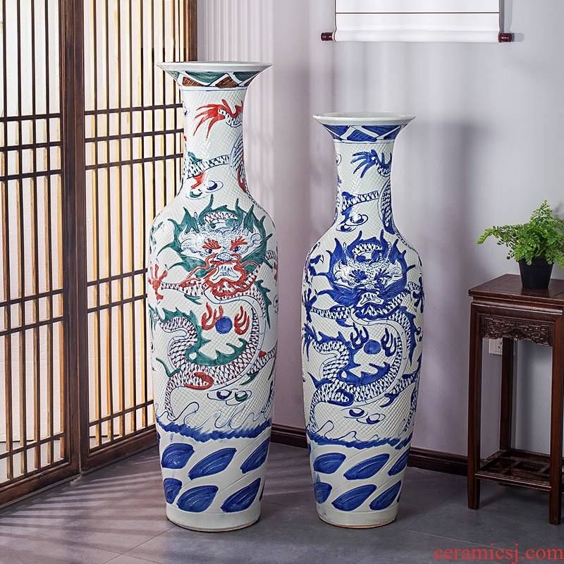 Jingdezhen ceramics antique blue and white dragon carving of large vase household hotel adornment furnishing articles