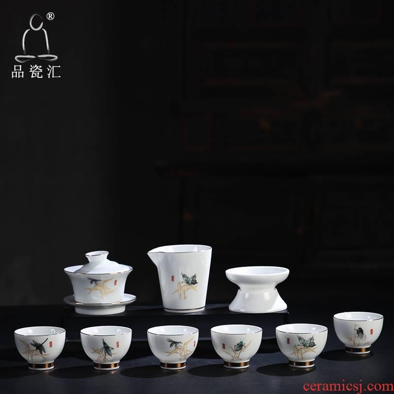 The Product set of porcelain collect jade porcelain worm fly ceramic kung fu tea service process jade porcelain teapot teacup tea set