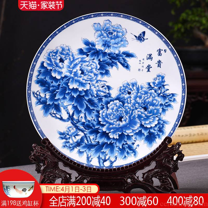 Jingdezhen blue and white hang dish adornment art ceramics plate modern Chinese wine sitting room adornment is placed