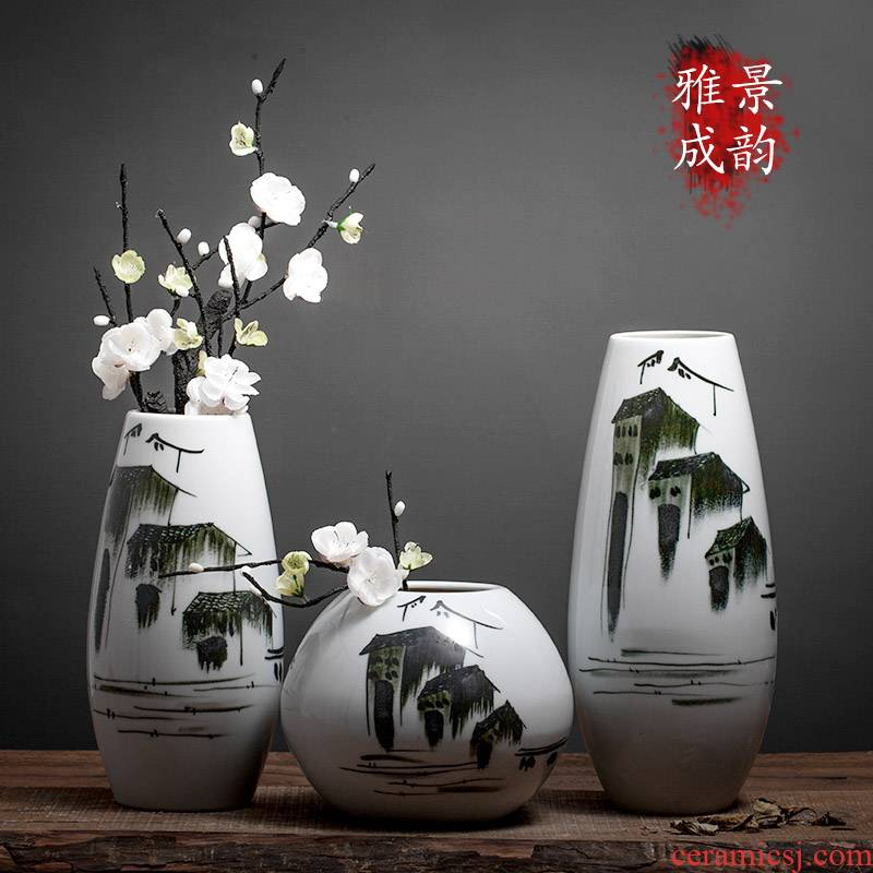 Jingdezhen ceramic vases, arts and crafts porcelain table sitting room decoration vase of new Chinese style household act the role ofing is tasted furnishing articles