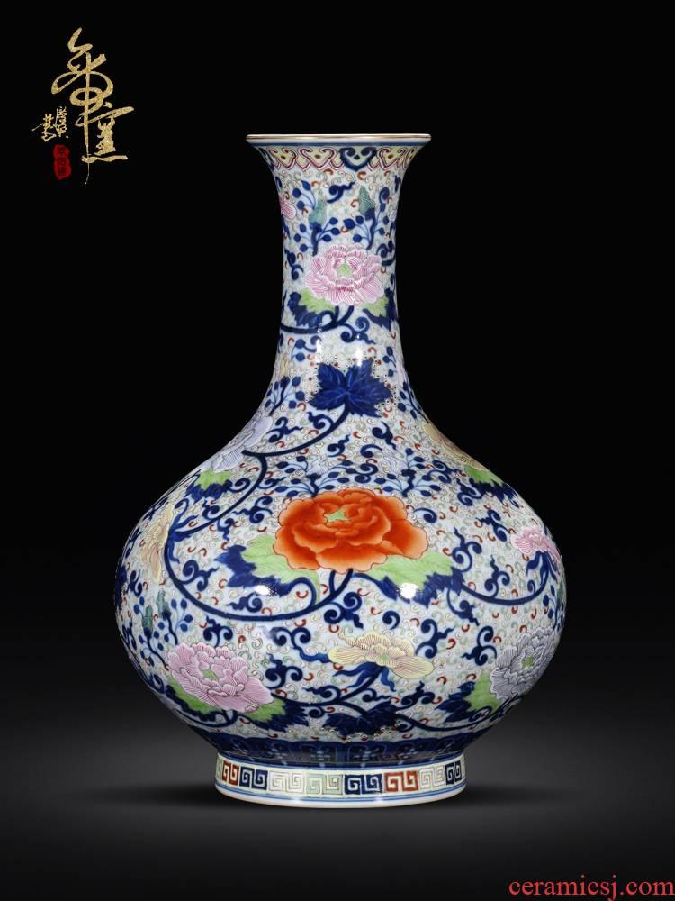 Emperor up jingdezhen ceramics antique hand - made porcelain enamel vase of new Chinese style living room rich ancient frame flower arranging furnishing articles