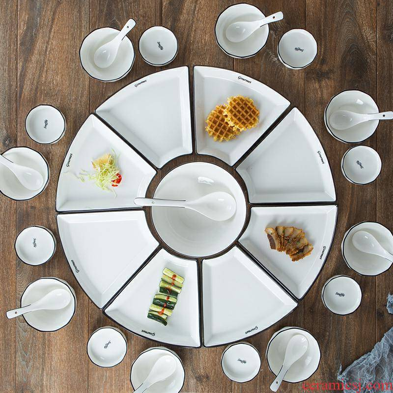 Web celebrity creative combination platter tableware ceramics home New Year round table fan - shaped plate party fresh sea dish suits for