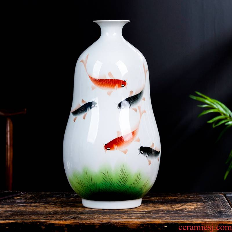 Jingdezhen ceramics powder enamel vase gourd bottle of Chinese style household living room TV cabinet crafts ornament