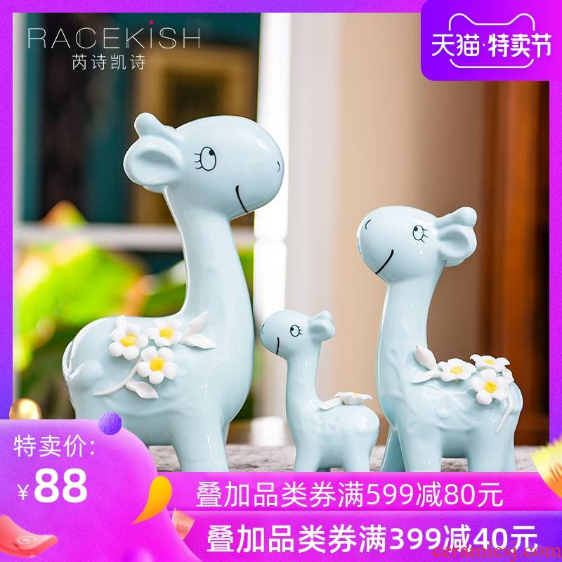 European creative ceramic three deer in furnishing articles contracted household decorates porch decorate TV ark, wedding gift decoration