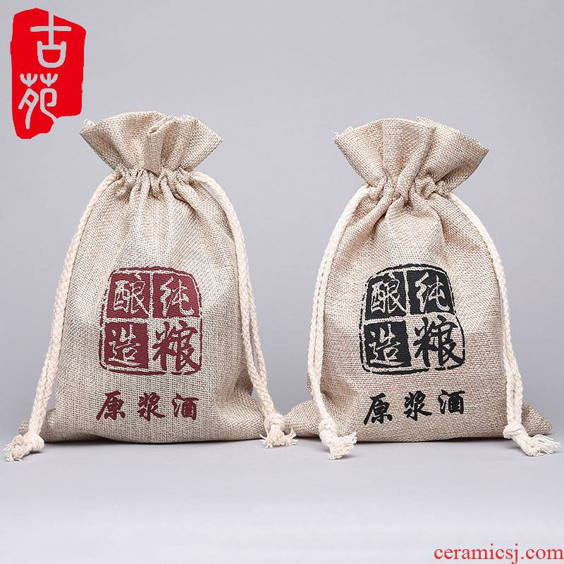 Ancient garden ceramic bottle with parts 1 catty deacnter packing sack of pocket bag packaging wine little sacks
