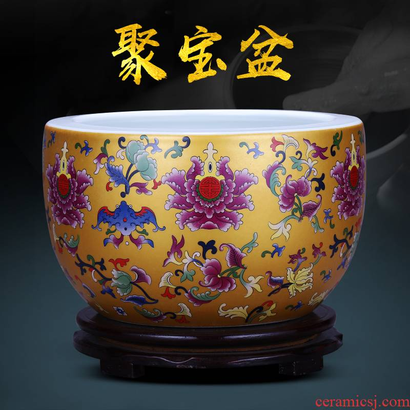 Jingdezhen ceramics cornucopia cylinder sitting room porch feng shui home furnishing articles furnishing articles maxim basin