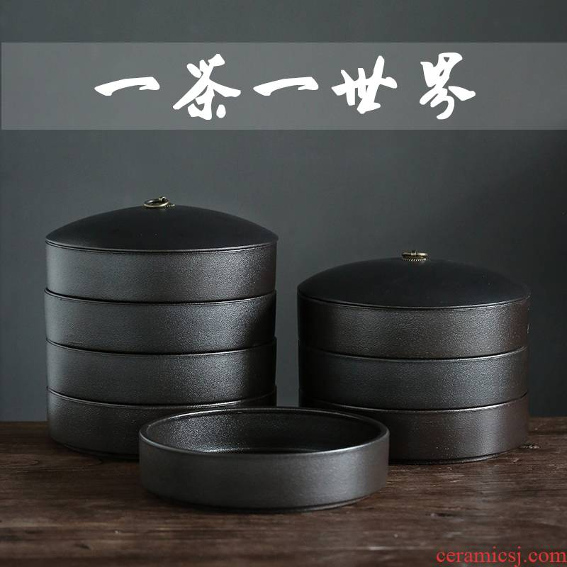 Large black pottery caddy fixings ceramic seal puer tea pot white tea cake tin with storage POTS stack