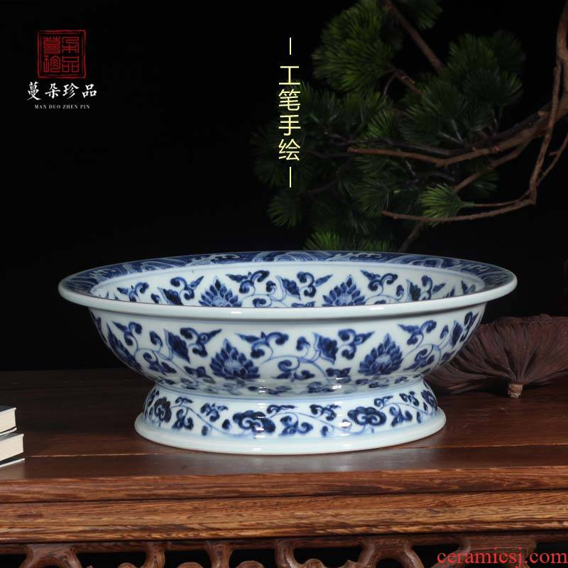 Jingdezhen blue and white dragon imitation jintong hand - made porcelain compote high low foot up compote Buddha, informs the for plate at home