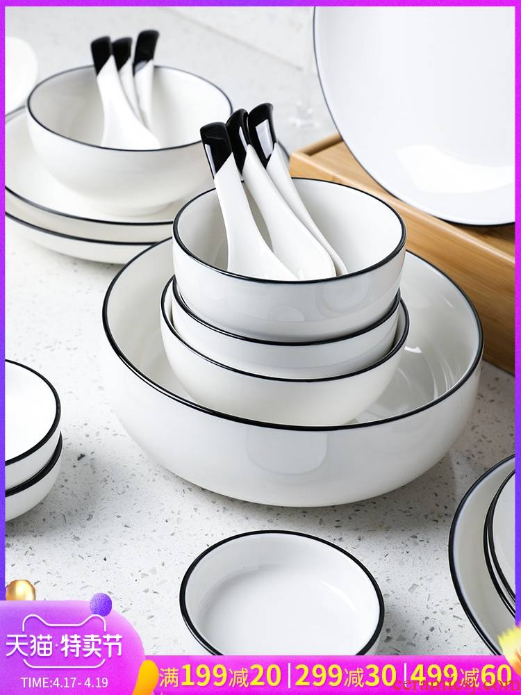 Selley European contracted the black edge ceramic tableware suit to use dishes chopsticks sets the food more than the dress
