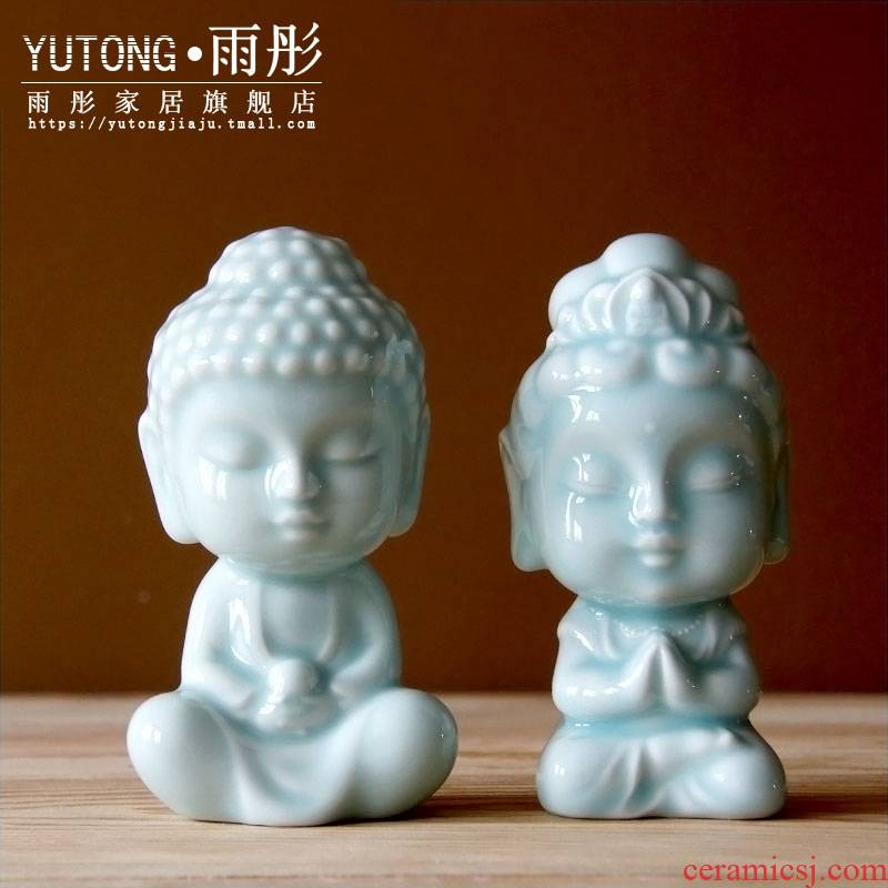 Rain tong home | small shadow of jingdezhen ceramics, ceramic Buddha furnishing articles home decoration porcelain tea house decoration