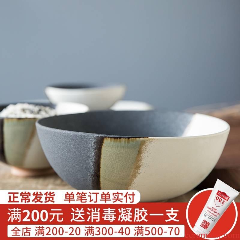 Creative Japanese tableware move retro coarse ceramic bowl bowl, small bowl of noodles bowl bowl household asakusa tall foot