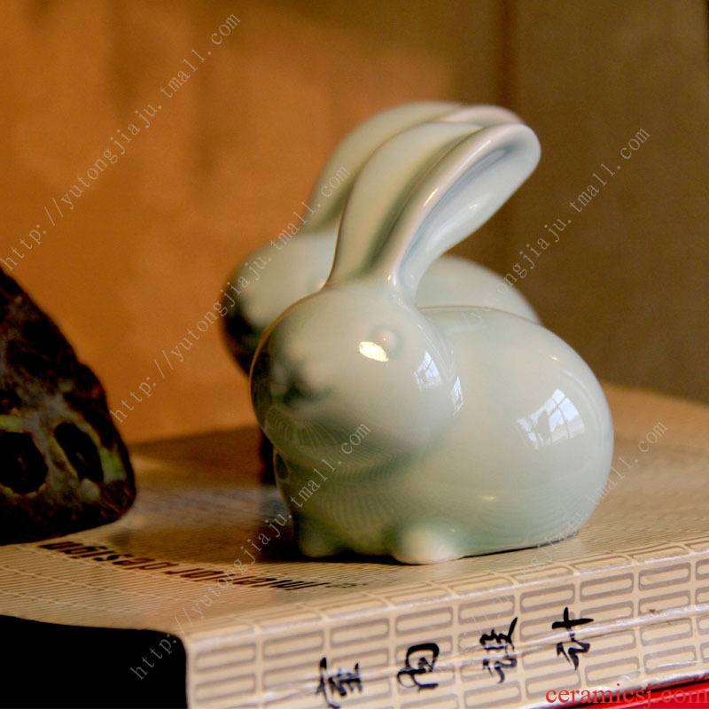 Rain tong household pet film | tea tea celadon porcelain manually pet rabbit tea tea furnishing articles furnishing articles in living in adornment