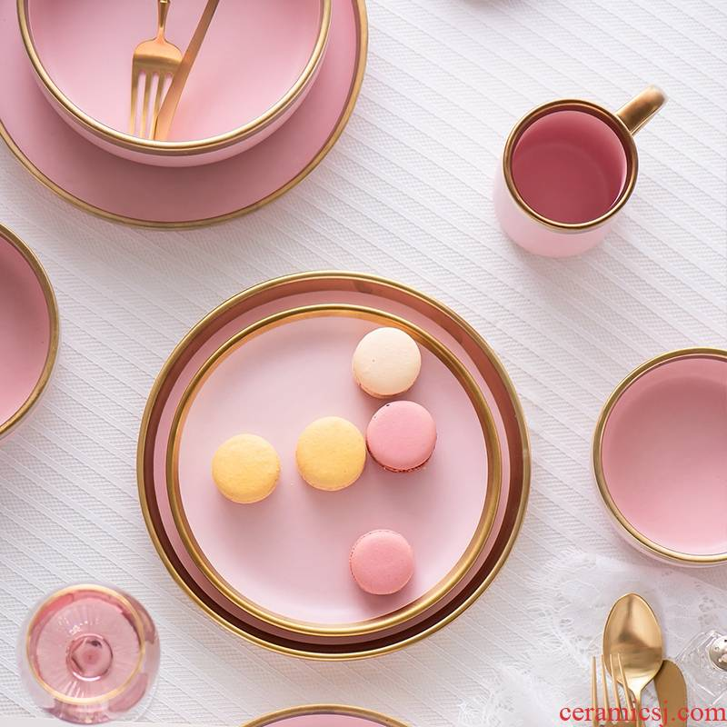 The Nordic household contracted pink up phnom penh ceramic tableware soup plate to use western - style food dish dishes bowl dish dish to send his knife and fork