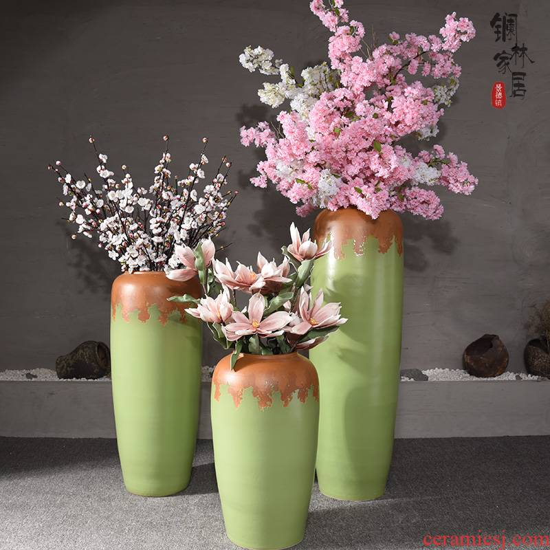 Vase is placed large ground ceramic art restores ancient ways household dried flower arranging flowers European contracted sitting room adornment flowers